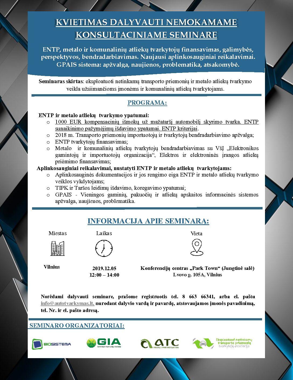 2019-12-05 Seminaras Vilniuje