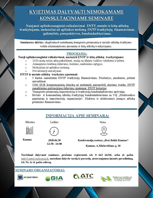 Kvietimas į 2020-06-30 aplinkosauginį seminarą Kaune